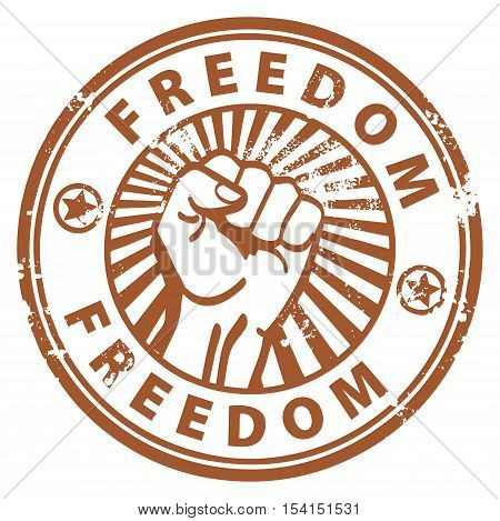 Grunge rubber stamp with the fist and word freedom written inside, vector illustration