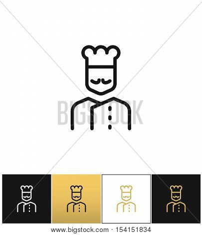Cook line vector icon. Cook line program on black, white and gold background