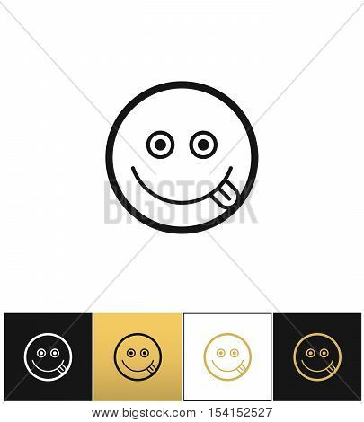 Happy smile logo or joy smiling vector icon. Happy smile logo or joy smiling program on black, white and gold background