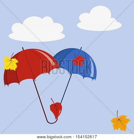 Two umbrella and fallen leaves on the background of the autumn sky with clouds, vector illustration