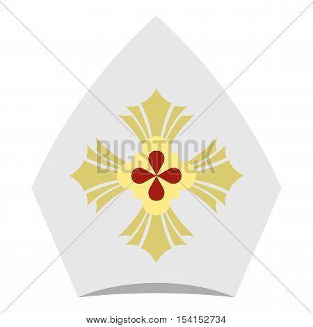 Catholic hat icon. Flat illustration of catholic hat vector icon for web