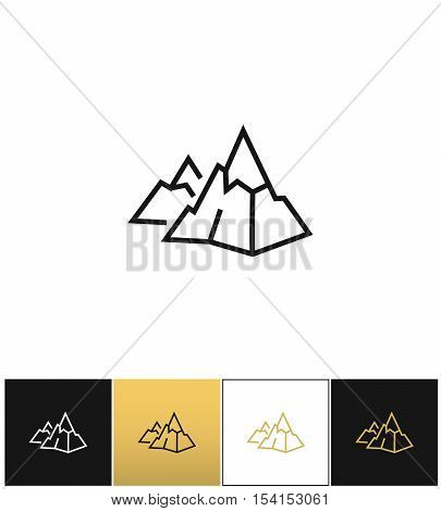 Rock logo or mountain stone linear vector icon. Rock logo or mountain stone linear program on black, white and gold background