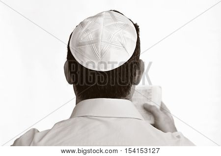 Jewish Man With Kippah Pray