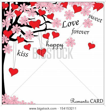 Hand drawn romantic card with spring tree of love and hearts and blossom in boho style. Image for valentine day wedding invitation card. eps 10.