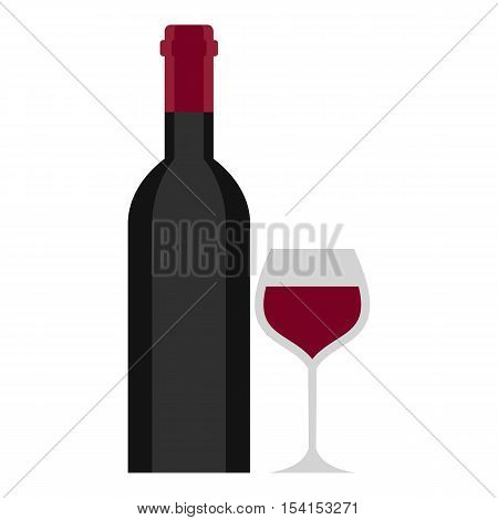 Bottle and glass icon. Cartoon illustration of bottle and glass vector icon for web