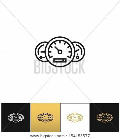 Speed line symbol or high progress linear vector icon. Speed line symbol or high progress linear program on black, white and gold background