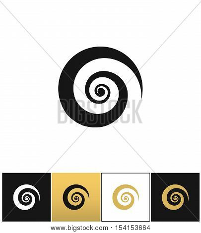 Spiral icon vector icon. Spiral icon program on black, white and gold background