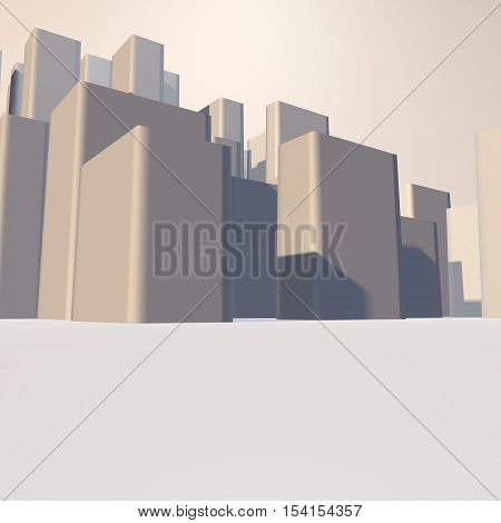 City view. Background image. 3d render. modern city,