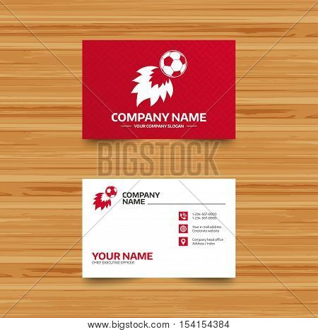 Business card template. Football fireball sign icon. Soccer Sport symbol. Phone, globe and pointer icons. Visiting card design. Vector