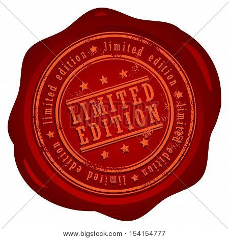 Wax seal with small stars and the word Limited edition, vector illustration