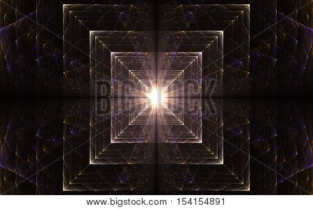 abstract illustration fractal glowing squares converging to the center with light radiating from the middle of colored lines