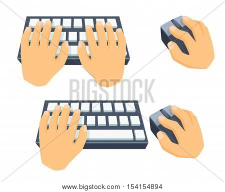 Hands use keyboard, computer mouse. Process type on keyboard, clicking with mouse. Office work tool. Cartoon hand with mousee, type on keyboard. Working in office, online education, buisiness concept