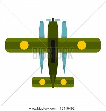 Military biplane icon. Flat illustration of military biplane vector icon for web