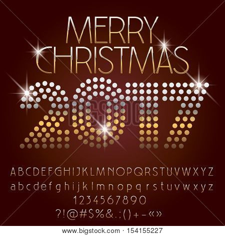 Vector shiny Merry Christmas 2017 greeting card with set of letters, symbols and numbers. File contains graphic styles