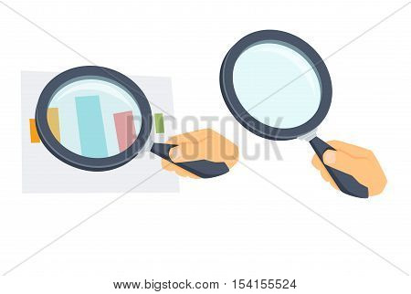 Hand with magnifying glass. Process of search and zoom with loupe. Office work tool. Hand holding magnifier cartoon vector. Working in office, education, science concept. Magnifier glass in hand.