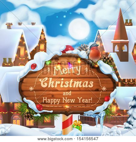 Merry Christmas and Happy New Year background. 3d vector illustration. Christmas village