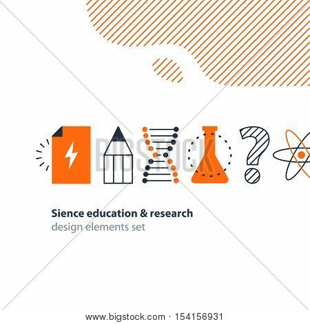 Flat design vector illustration. Scientific study, education concept