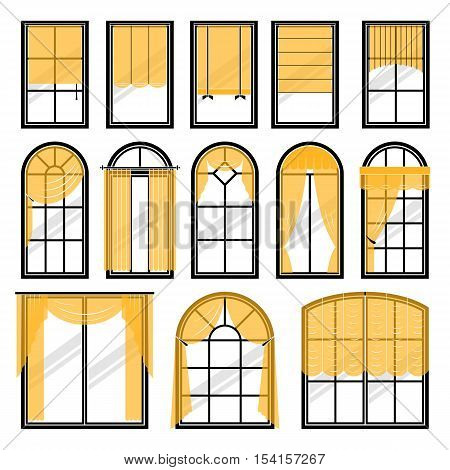 Set of vector curtains different forms. Waving hanging curtains for the window decoration. Interior home fabric design collection. Apartment view drape illustration
