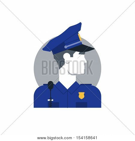 Flat design vector illustration. Male character turned head