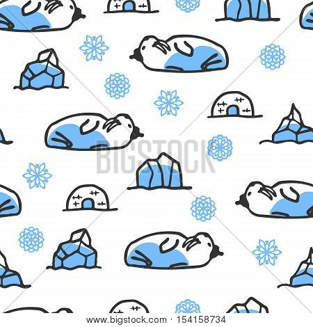 Seamless pattern with cute doodle walrus. North animal with snowflakes, igloo and icebergs. Funny walrus wears hat