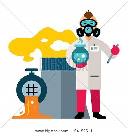 Chemist takes samples from the sewage water. Isolated on a white background