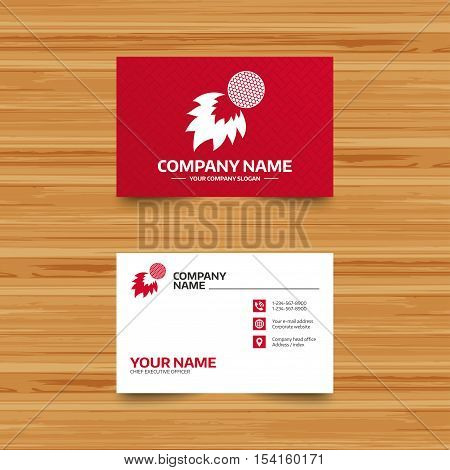 Business card template. Golf fireball sign icon. Sport symbol. Phone, globe and pointer icons. Visiting card design. Vector