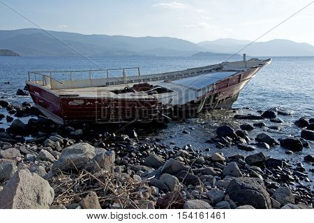 Shipwreck at Lesvos Greece left after refugees crossing the Aegean sea from Turkey