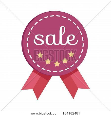 Sale medal for best price. Best quality and price. Sale tag with ribbon and label. Collection of sale elements. Special offer, discount and percentages, price, banner. Leader of sale. Vector