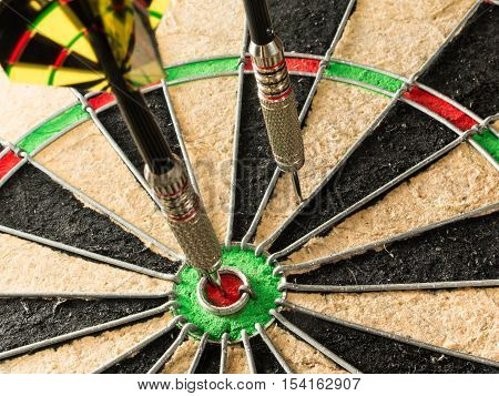 A dart that hit the inner bull or bullseye on a dartboard