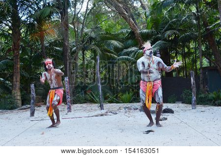 Two Yugambeh Aboriginal warriors dance during Aboriginal culture show in Queensland Australia.