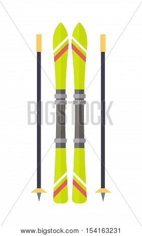 Ski and sticks isolated. Skiing gear set. Assortment of skiing equipment. Narrow strip of semi-rigid material worn under foot to glide over snow. For climbing slopes. Used in sport of skiing. Vector