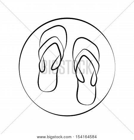 Pair of flip flops minimalistic vector icon.