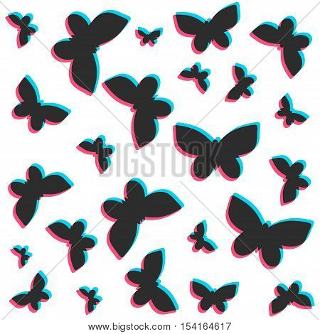 3D stereo flat style butterflies pattern. Vector isolated on white background