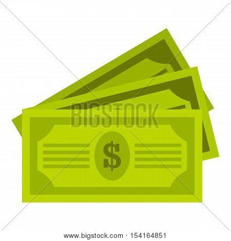 Three dollar bills icon. Flat illustration of three dollar bills vector icon for web