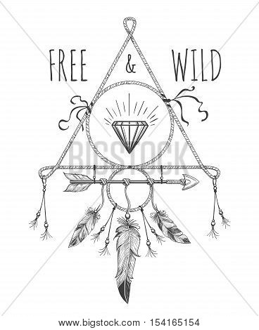 Native american boho feathers, arrows and crystal vector design ornament with free and wild text