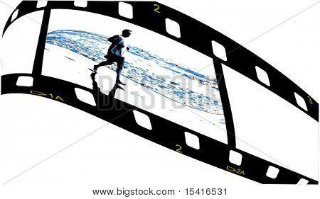 Vector Film With Jogger On Beach