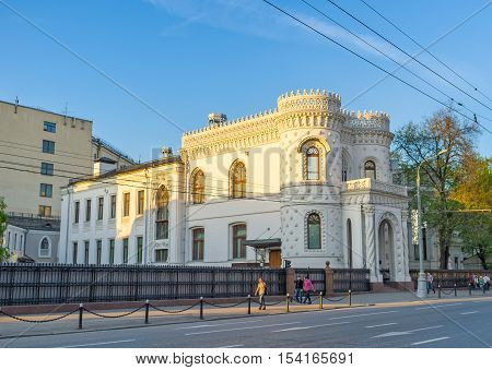 MOSCOW RUSSIA - MAY 10 2015: The Arseniy Morozov's mansion on Vozdvizhenka street nowadays serves as the Government Reception House on May 10 in Moscow.