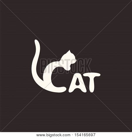 logo cat. Letter C made like a cat. Vector design logo. Vector illustration