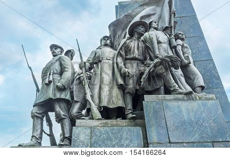 KHARKOV UKRAINE - MAY 20 2016: The statue group representing social changes after the revolutions in Soviet Union located at Taras Shevchenko Monument Kharkov  on May 20 in Kharkov.