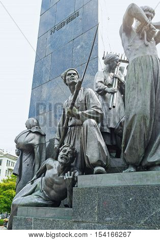 KHARKOV UKRAINE - MAY 20 2016: The sculptures of the rebellious characters of Taras Shevchenko works decorate his monument in Kharkov  on May 20 in Kharkov.