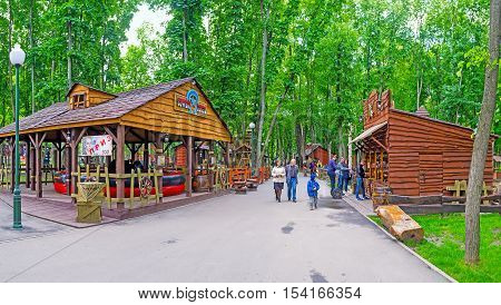 KHARKOV UKRAINE - MAY 20 2016: The Western style town in Gorky Park boasts the Cowboy rodeo and shooting range with fun gifts on May 20 in Kharkov.