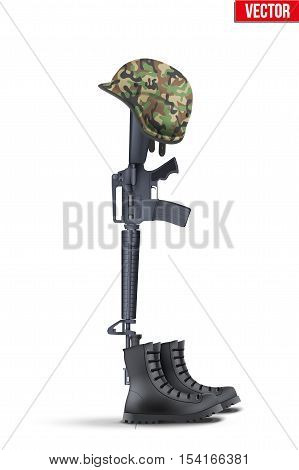 Memorial Battlefield Cross. The symbol of a fallen US soldier. Modern war. Rifle with boots and helmet. Vector Illustration Isolated on white background.