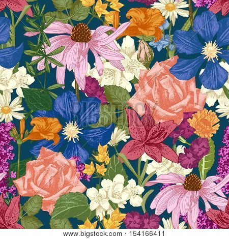 Hand drawn colorful seamless floral pattern