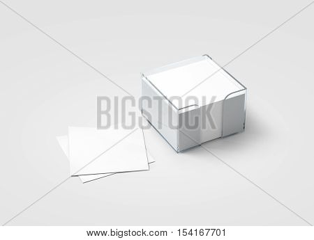 Blank white sticker note block plastic holder mockup clipping path 3d rendering. Plain office memo in transparent glass box mock up. Post it notes template. Loose adhesive papers for logo design.
