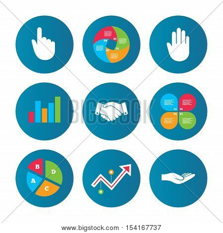 Business pie chart. Growth curve. Presentation buttons. Hand icons. Handshake successful business symbol. Click here press sign. Human helping donation hand. Data analysis. Vector