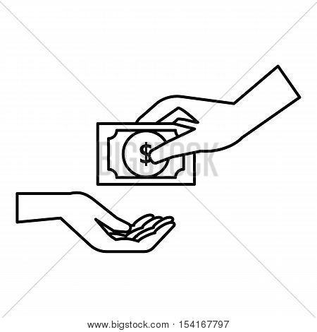 Hand gives money icon. Outline illustration of hand gives money vector icon for web