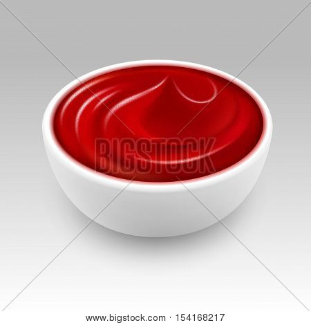 White Bowl of Red Tomato Ketchup Sauce Close up Isolated on White Background