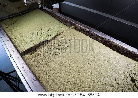 milled fresh olives for olive oil production