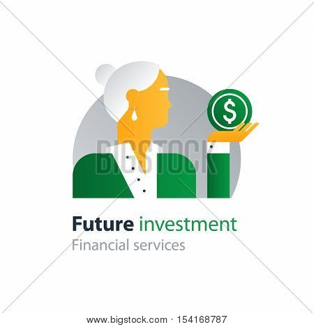 Flat design vector illustration. Retirement payment, pension fund