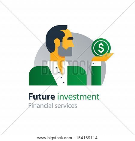 Flat design vector illustration. Finance people and banking services